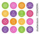 collection of yoga icons ... | Shutterstock .eps vector #773343994