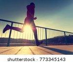 morning runner in tall black... | Shutterstock . vector #773345143