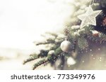 christmas decoration with snow... | Shutterstock . vector #773349976