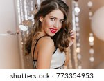 romantic girl with big eyes and ... | Shutterstock . vector #773354953
