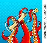 tentacles of octopus hold... | Shutterstock .eps vector #773354983