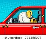 crash test dummy in car after... | Shutterstock .eps vector #773355079
