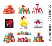 gift box collection. colorful... | Shutterstock .eps vector #773358400