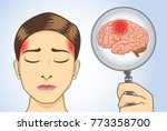 looking brain of woman with... | Shutterstock .eps vector #773358700