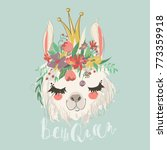 Cute Hand Drawn Llama With...