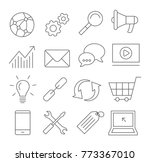 seo line icons on white... | Shutterstock .eps vector #773367010