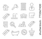 real estate line icons on white | Shutterstock .eps vector #773367430