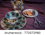 noble tea dishes in vintage
