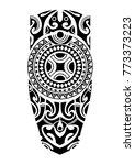 maori tattoo design for leg  | Shutterstock .eps vector #773373223
