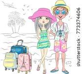 vector hipster traveler guy and ... | Shutterstock .eps vector #773374606
