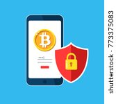 bitcoin mobile security  safety ... | Shutterstock .eps vector #773375083