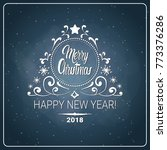 christmas and 2018 new year... | Shutterstock .eps vector #773376286