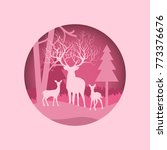 deer silhouette in forest with... | Shutterstock .eps vector #773376676