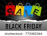 black friday sale bags on dark...   Shutterstock .eps vector #773382364