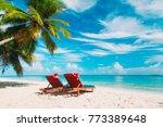 christmas on beach  chair... | Shutterstock . vector #773389648