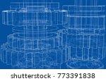 gearbox sketch. vector... | Shutterstock .eps vector #773391838