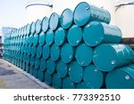 oil barrels green or chemical... | Shutterstock . vector #773392510