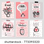 valentine s day card set   hand ... | Shutterstock .eps vector #773393320