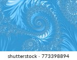 light blue embossed fractal... | Shutterstock . vector #773398894