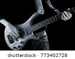 hands of electric bass payer on ... | Shutterstock . vector #773402728