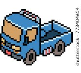 vector pixel art truck isolated | Shutterstock .eps vector #773404654