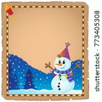 parchment with party snowman... | Shutterstock .eps vector #773405308