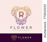 flower initial letter r logo... | Shutterstock .eps vector #773415253