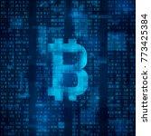 bitcoin digital currency.... | Shutterstock . vector #773425384
