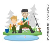 father and son fishing at the...   Shutterstock . vector #773432410