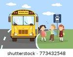 school bus with children. going ...   Shutterstock . vector #773432548