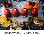 four red candles burning... | Shutterstock . vector #773435458