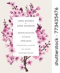 sakura. wedding invitation.... | Shutterstock .eps vector #773435476