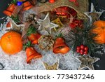many christmas decorations as... | Shutterstock . vector #773437246