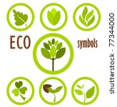 set of eco icons and symbols in ... | Shutterstock .eps vector #77344000