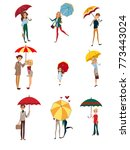 people under umbrella set  kids ... | Shutterstock .eps vector #773443024