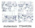 collection of monochrome... | Shutterstock .eps vector #773449396