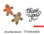 xmas greeting card with sweet... | Shutterstock .eps vector #773453404