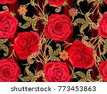 seamless pattern. golden... | Shutterstock . vector #773453863