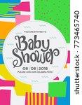 baby shower card design. | Shutterstock .eps vector #773465740