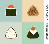 four types of onigiri. sticky... | Shutterstock .eps vector #773471428