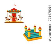 amusement park carousel ride... | Shutterstock .eps vector #773475094