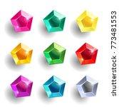 set of cartoon pentagon... | Shutterstock .eps vector #773481553