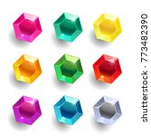 set of cartoon hexagon... | Shutterstock .eps vector #773482390