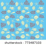 sea style vector pattern with... | Shutterstock .eps vector #773487103
