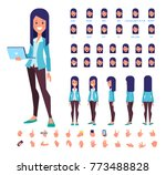 girl with laptop for animation. ... | Shutterstock .eps vector #773488828