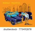 mumbai traffic illustration | Shutterstock .eps vector #773492878