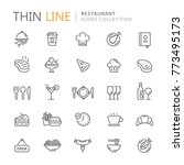 collection of restaurant thin... | Shutterstock .eps vector #773495173