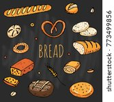 bread hand drawn doodles of... | Shutterstock .eps vector #773499856