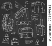 hand drawn doodle baggage icons ... | Shutterstock .eps vector #773499868