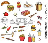 hand drawn doodle fast food... | Shutterstock .eps vector #773499874